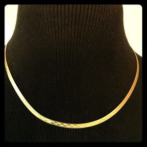 "14KT 18"" 4mm Gold Herringbone Reversible Necklace"